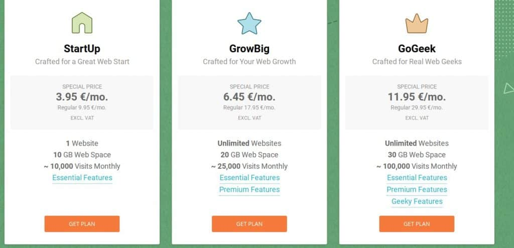 Siteground pricing plan